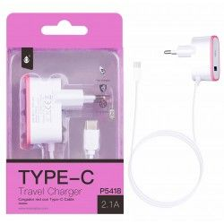 P5418  Cargador Red 1Con Cable Type-C, 5V/2,1A,Rosa