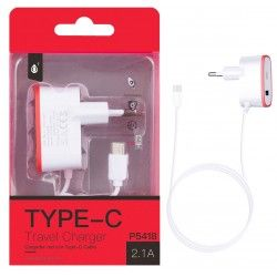 P5418  Cargador Red 1Con Cable Type-C, 5V/2,1A, Rojo
