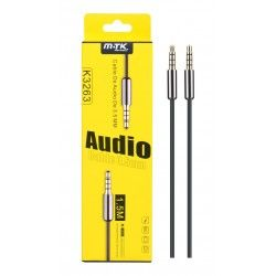K3263 Cable Audio Metal 3.5mm a 3.5mm Oro Bañado, 4pin 1,5m
