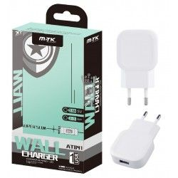 AT841 BL Cargador de Red Super Slim 1USB sin Cable, 2,1A Blanco