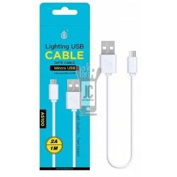 AS100 Cable de Datos Micro USB Maxium Blanco 2A 1M