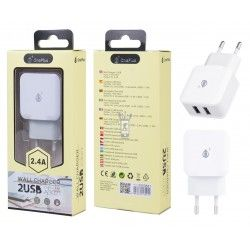 A3021 BL Cargador Red Quick sin Cable, 2,4A 2USB, Blanco