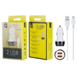 A6158 BL+NE Cargador Mechero Nebula con Cable Iphone 5/6/7, 2USB 2,4A, Blanco y Negro