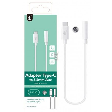 B4580 BL Cable Type C a Audio 3,5 mm hembra , Blanco
