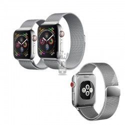 Correa Pulsera Metalizada Imán   Compatible para  Apple Watch 38-40 mm Plata