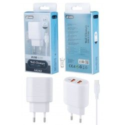 A4242 BL Cargador red Kalim con cable Type C , 2USB,5V/2,4A,Blanco