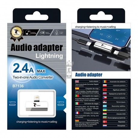 LT PLUS B7136 AUDIO ADAPTADOR CON INTERFAZ LIGHTNING Y LIGHTNING PLATA