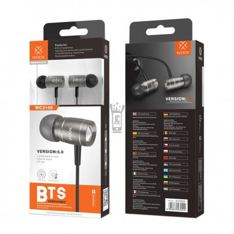 WOOX WC3150 AURICULARES STEREO BTS 5.0 NEGRO