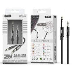 BT910 NE Cable de Audio Cáscara Cobre de 3.5mm a 6.35mm Macho a Macho, Longitud 2M, Negro