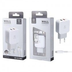 WOOX WA2729 CARGADOR DUAL USB CON CABLE IPHONE 2.4A BLANCO