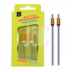 Cable Audio Jack 3.5mm  Conector Metalico,M/M, 1M Blanco