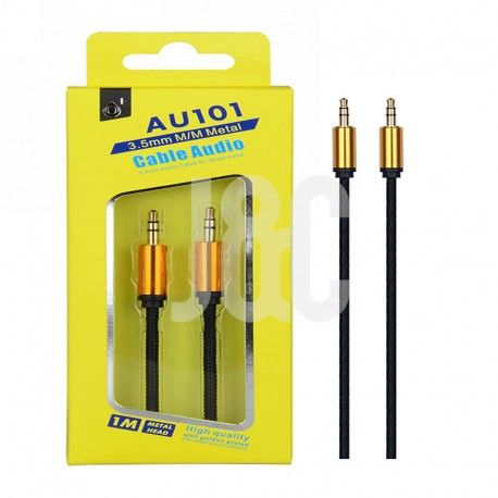 Cable Audio Jack 3.5mm  Conector Metalico,M/M, 1M Negro