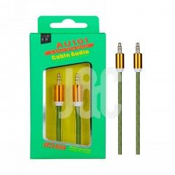Cable Audio Jack 3.5mm  Conector Metalico,M/M, 1M Verde