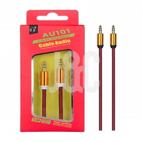 Cable Audio Jack 3.5mm  Conector Metalico,M/M, 1M Rojo
