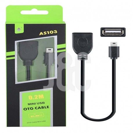 Cable OTG MINI USB 0.2M Negro