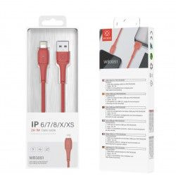 WOOX WB3051 CABLE IPHONE 1M 2A ROJO